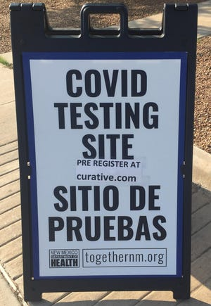 A sign at the Eddy County Public Health Office in Artesia reminds people drive thru COVID-19 testing was available on Aug. 5, 2021.