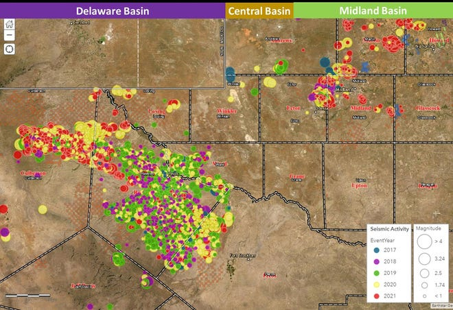 A map of seismic activity in the Permian Basin is pictured.