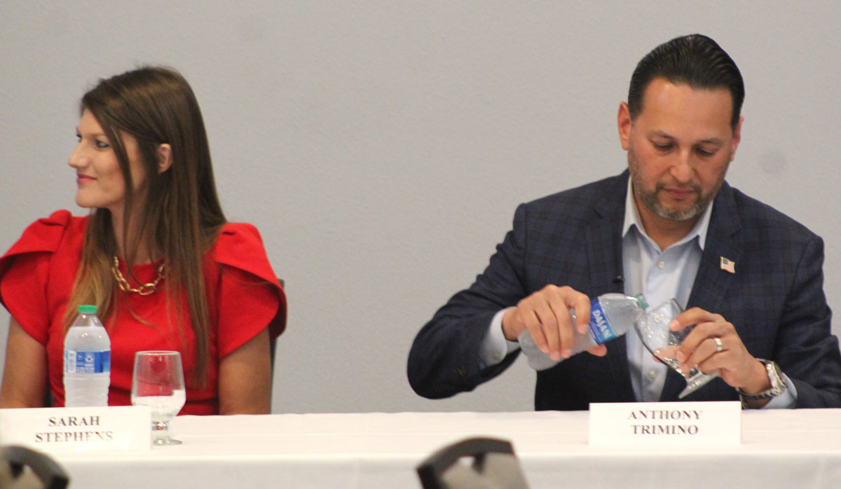 GOP gubernatorial candidates Sarah Stephens and Anthony Trimino spoke Aug. 24 at a luncheon hosted by the Republican Women's Federation of Carlsbad regarding the recall of Democrat Gov. Gavin Newsom. Photo by Steve Puterski