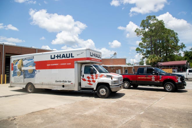 One of two full-sized U-Haul trucks loaded up with supplies for the Tallahassee Fire Department's Urban Search and Rescue Team, also known as Florida Task Force 7, sits ready to go as the team prepares to deploy to Surfside to aid in the aftermath of the Champlain Towers South Condo collapse at Fire Station 4 on West Pensacola Street Sunday, June 27, 2021.