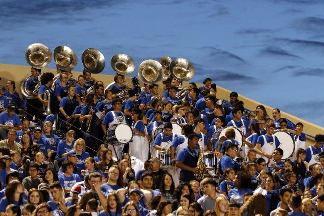The Carlsbad band performs during Carlsbad's homecoming game against El Paso Coronado on Sept. 13, 2019. Carlsbad won, 33-20.
