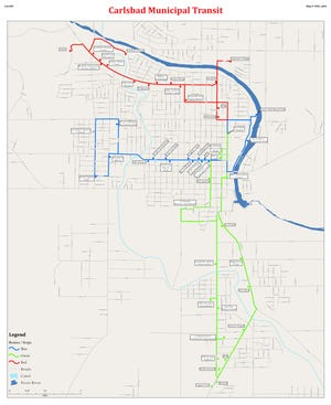A map courtesy of the City of Carlsbad shows Carlsbad Municipal Transit bus routes.