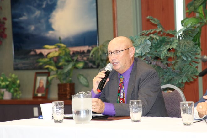 Carlsbad Municipal Schools Superintendent Dr. Gerry Washburn addresses issues COVID-19 has on schools during a panel discussion on Sept. 25, 2021 in Carlsbad.