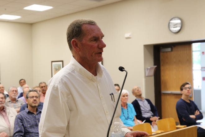 Jim Griswold, environmental bureau chief at the New Mexico Oil Conservation Division discusses the project to remediate the Carlsbad Brine Well, April 23, 2019 at the Carlsbad Municipal Annex.