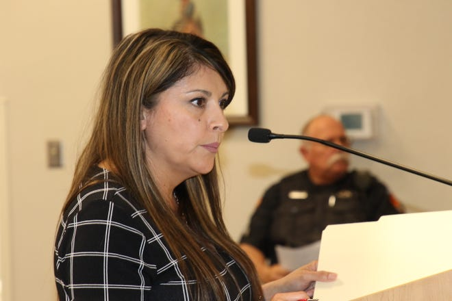 Carlsbad Municipal Services Director Angie Barrios-Testa during the June 8, 2021 Carlsbad City Council meeting. Councilors approved a name change for the Carlsbad Museum and Art Center on that date.